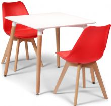 Toulouse Dining Set  - 80cms Square White Table & 2 Red Chairs